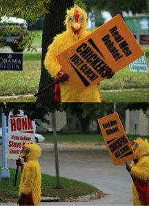 Chickens protesting